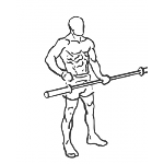 One Arm Bicep Curl with Olympic Bar - Step 1