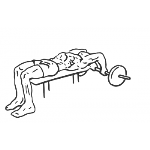 Lying Close-Grip Barbell Triceps Extension Behind Head - Step 1